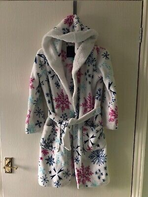 Dressing Gown-Bathrobe Age 10-12 Years. Girls. Hooded.Pockets. Snowflakes. By Tu