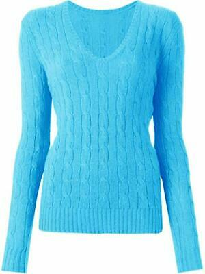 New Womens Ladies Deep V Neck Cable Knitted Sweater Short Warm Jumper Top 8-14