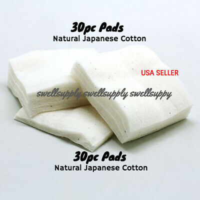PREMIUM Japanese Natural Cotton [ 30 PADS ] 100% Organic Unbleached USA Seller
