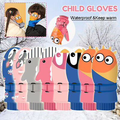 Penguin/Alien/Shark/Sika Deer Children Gloves Outdoor Snow Waterproof Windproof