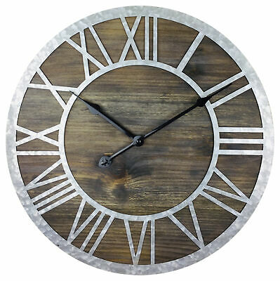 Large Country Farmhouse Style Wooden Roman Numeral Wall Clock Zinc Numbers 40cm