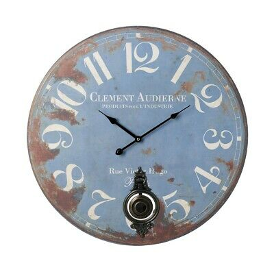 Large French Farmhouse Style Wooden Distressed Blue Pendulum Wall Clock 58cm