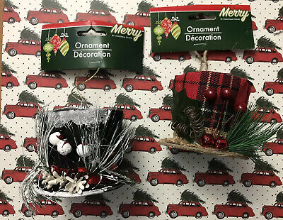 Lot Of 2 Christmas Tree Ornaments Merry By Christmas House Top Hat Holiday Decor