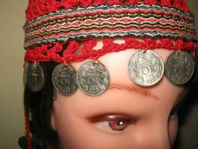 Antique Old Vintage Handmade Kosovo Traditional Head Decoration with Coins from