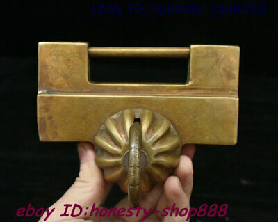 Collect Antique Chinese Ancient Dynasty Palace Gate Old Bronze Lock Keys Statue