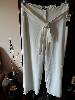 Alfani Women White Belted Wide Leg Lined Pants Stretch Waist Size 14 NWT