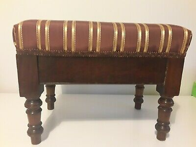 Antique VICTORIAN mahogany small footstool stool UPHOLSTERED turned wooden sides