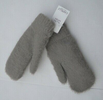 New Capelli New York Gray Faux Fur Lined Women's Mittens One Size