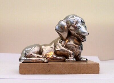 Lovely French Art Deco Chrome plated figurine Dachshund sausage dog by Rabier