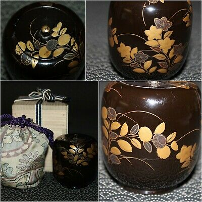 VTG Japanese wooden lacquer Gold makie Natsume tea caddy w/box from Japan b098