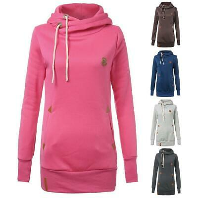 Women Long Sleeve Drawstring Hooded Fleece Pocket Casual Solid Slim Hoodies XD#3