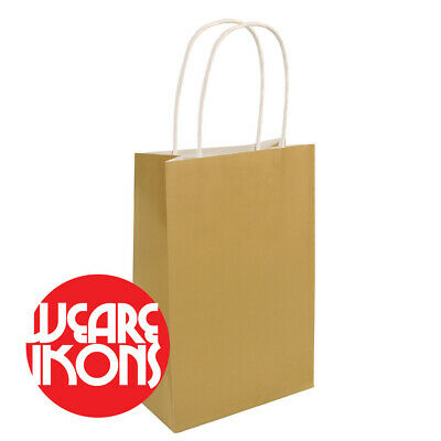CHRISTMAS GOLD Party Bags Gift Bag With Handles - Recyclable Birthday Loot