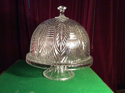 Extremely Large And Beautiful Cut Glass Lidded Cake Stand Art Deco Era