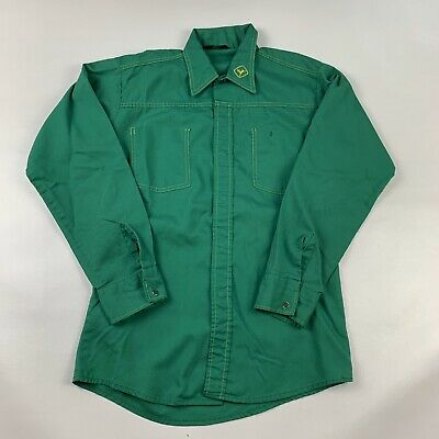Vintage John Deere Protexall Snap Front Work Shirt Size Large