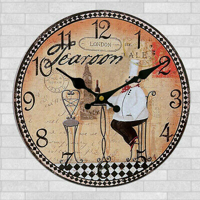 Wooden Wall Clock Digital Vintage Rustic Shabby Chic Kitchen Office Gift #24