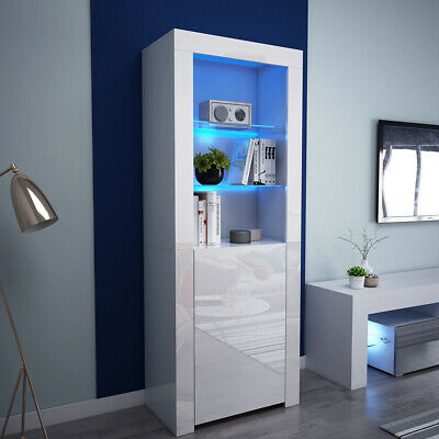 160cm Tall Boy Storage Cabinet Display Cupboard Unit LED High Gloss Door Shelves