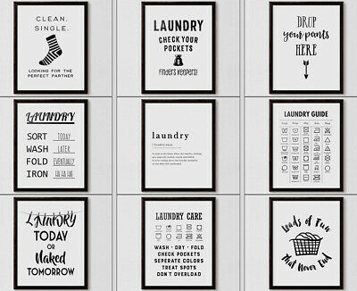 Laundry Room Poster Wash Symbol Care Guide Funny Print Definition Wall Word Art