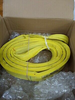 Mazzella EE4-903 Edgeguard Nylon Web Sling, Eye-and-Eye, Yellow, 4 Ply, 11' Leng