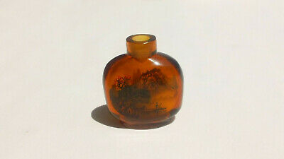 Antique Signed 19Th Century Chinese Reverse Painted Crab Fisherman Snuff Bottle