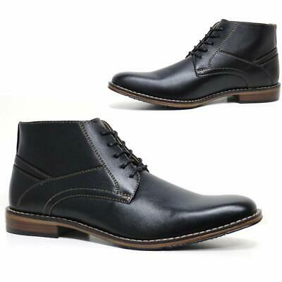 Mens Faux Leather Boots New Smart Formal Dealer Chelsea Ankle Work Boots Shoes
