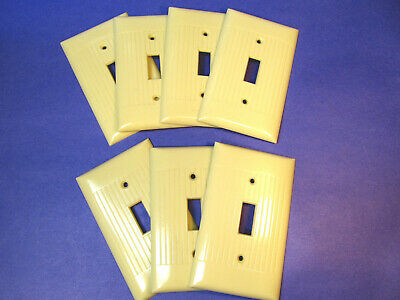 Lot of 7 Vintage SIERRA Ribbed Electrical Ivory Switch Wall Plates a
