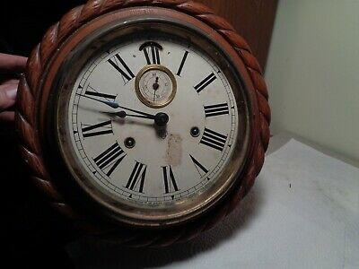 "Antique-Ansonia 11"" ""Cable Lever"" Gallery Clock-Ca.1890-To Restore-#K43B"