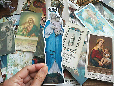 50 Virgin Mary Vintage Catholic Holy Cards Paper Pack Card Journaling DIY