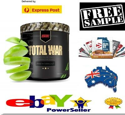 REDCON1 Total War Pre Workout,Extreme Energy   Green Apple + Free Protein Sample