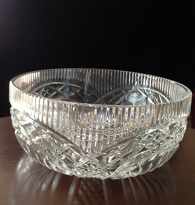 """Vintage New WATERFORD Crystal MASTER CUTTER Centerpiece 10"""" BOWL ~MADE: IRELAND"""