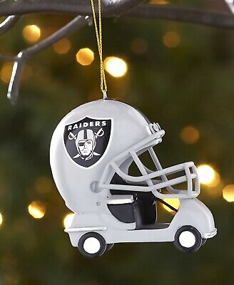 Oakland Raiders NFL Helmet Cart Christmas Tree Ornament Football Decor