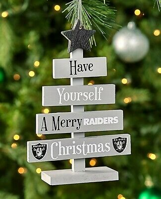 Oakland Raiders NFL Football Wooden Tree Sign Christmas Ornament Home Decor