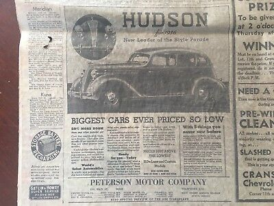 1935 Hudson newspaper Advertisement Peterson Motor Company Boise Capital News