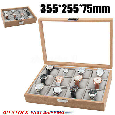 12 Slots Wooden Watch Box Case Jewelry Storage Holder Watches Display Gift Xmas
