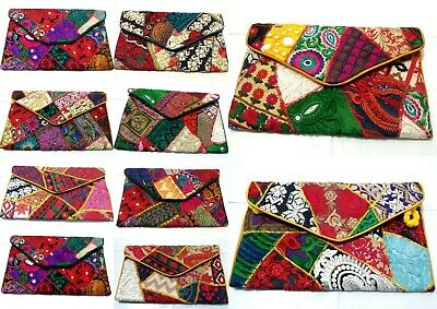 Embroidery INDIAN Art Purse _Handbag Clutch Envelope Ethnic Evening Party Bag