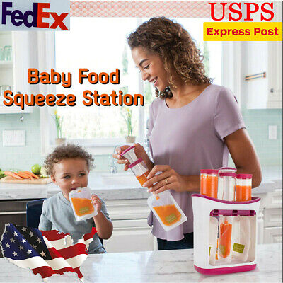Squeeze Station Food Maker Puree Juice Storage Container Pouches Baby Feeding