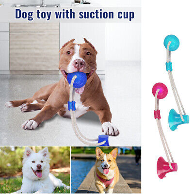 Pet Molar Bite Toy Dog Tug Rope Ball Chew Toys Pet Tooth Cleaning Suction Cup UK