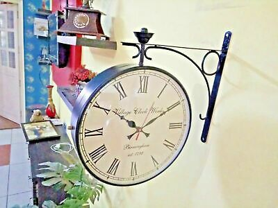 Double Sided Victoria Station Railway Functional Clock 12 Inches Black Antique
