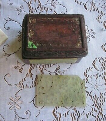 Vintage Wooden Hand Carved Jade Trinket Snuff Box China Needs Repair