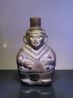 pre columbian figure offering priest ceramic w TL test Doc Report! Moche Chimu