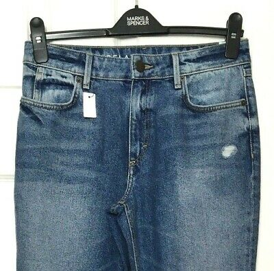 Ladies Skinny Jeans M&S Blue Relaxed Ripped Faded Denim 8 BNWT Marks Women