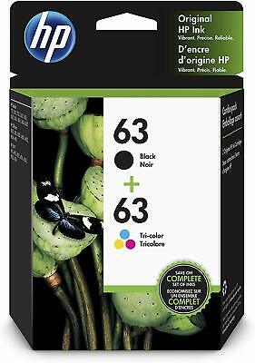 HP 63, 2 Ink Cartridges, Black, Tri-color, F6U61AN, F6U62AN | SHIPS FREE TWO DAY