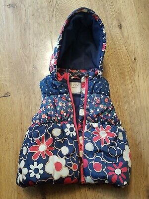 Next Girls Floral Hooded Body Warmer Gilet Navy 3-4 Years