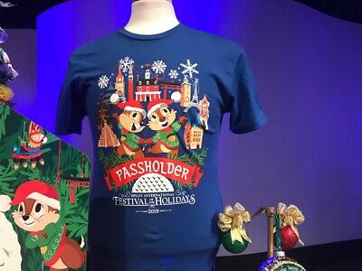 Disney Epcot Festival Of The Holidays 2019 Chip & Dale Annual Passholder T-shirt