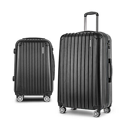 Wanderlite 2PCS Carry On Luggage Sets Suitcase Travel Hard Case Lightweight Blac