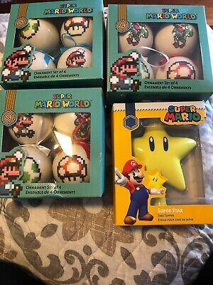 Game Stop Super Mario World star tree topper and 3 sets of 4 ornaments