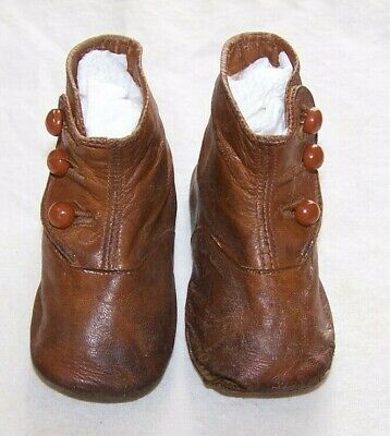 Antique Brown Leather 3 Button Up Toddler Shoes-Large Doll-Sorosis Brand