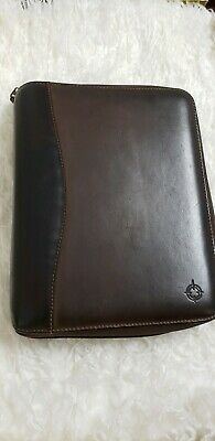 Franklin Covey/Quest SpaceMaker Brown Classic Genuine Leather Planner Binder