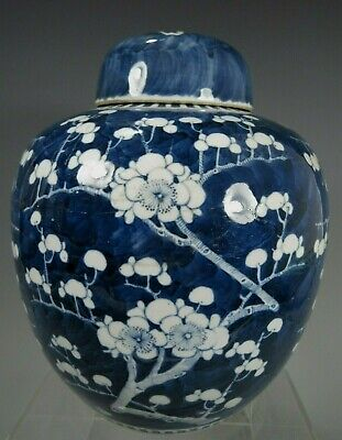 Fine China Chinese Porcelain Blue & White Prunus Decor Jar Qing Dynasty ca 1900