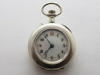 Antique Small  Ladies Pocket Watch Solid Silver Good Condition And Working 1900s