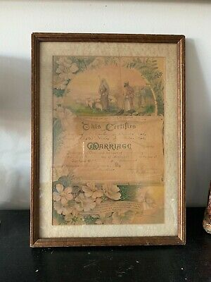 *Antique Framed Marriage Certificate From 1909 Colorado  Perfect Condtion*